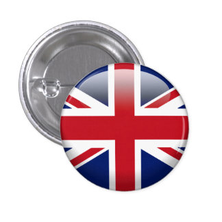 British Union Jack Flag 1 Inch Round Button