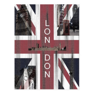 British Union Jack Flag Grunge Art Postcard