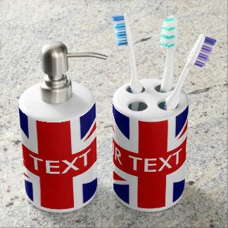 British Union Jack flag personalized bathroom set