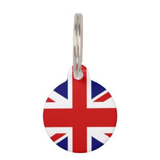 British Union Jack flag pet tag for dog or cat