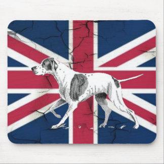 British union jack flag Retro English pointer dog Mouse Pad
