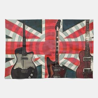 British Union Jack Flag Rock Roll Electric Guitar Kitchen Towel