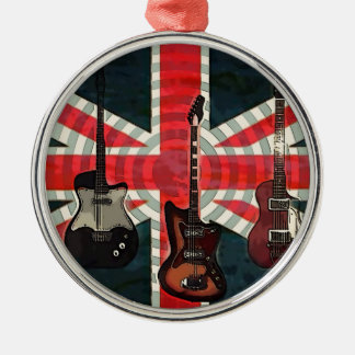 British Union Jack Flag Rock Roll Electric Guitar Metal Ornament