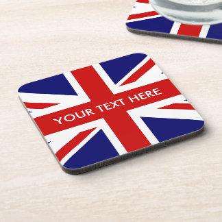 British Union Jack flag square cork coaster set