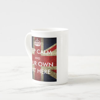British Union Jack Keep Calm and Your Text Tea Cup