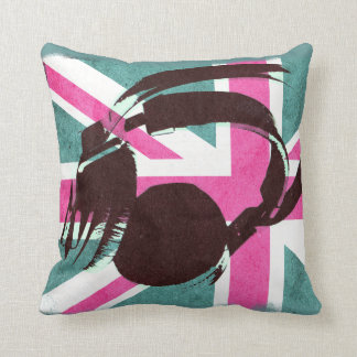 british union jack with deejay headphones throw pillow