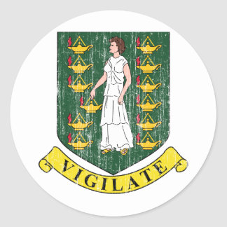 British Virgin Islands Coat Of Arms Classic Round Sticker