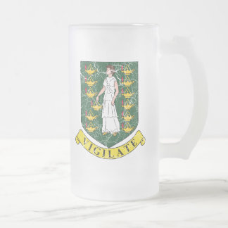 British Virgin Islands Coat Of Arms Frosted Glass Beer Mug