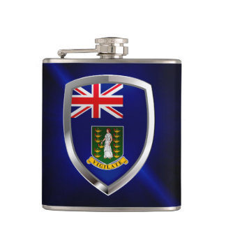 British Virgin Islands Mettalic Emblem Hip Flask