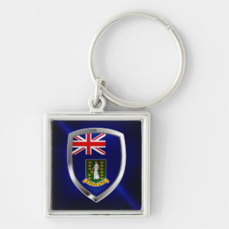 British Virgin Islands Mettalic Emblem Silver-Colored Square Keychain