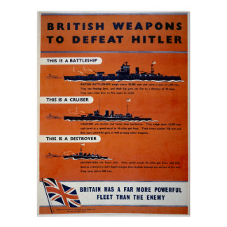 British weapons WW2 - Battleships Poster