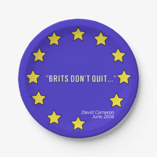 """Brits Don't Quit!"" Brexit-inspired Paper Plate"