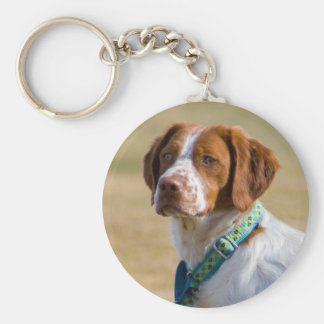 Brittany dog beautiful photo round keychain