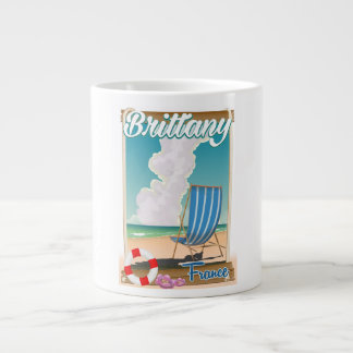Brittany France beach travel poster Giant Coffee Mug