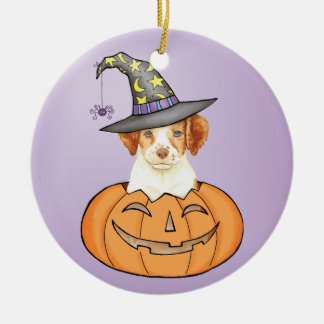 Brittany Halloween Round Ceramic Ornament