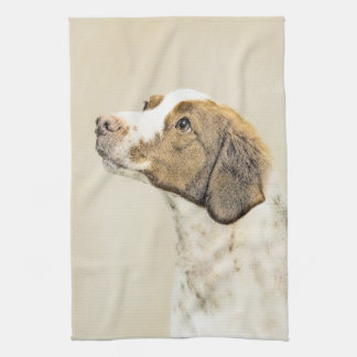 Brittany Painting - Cute Original Dog Art Kitchen Towel