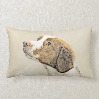 Brittany Painting - Cute Original Dog Art Lumbar Pillow