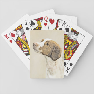 Brittany Painting - Cute Original Dog Art Playing Cards