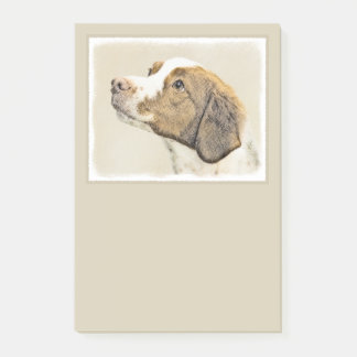 Brittany Painting - Cute Original Dog Art Post-it Notes
