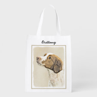 Brittany Painting - Cute Original Dog Art Reusable Grocery Bag