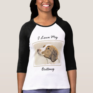 Brittany Painting - Cute Original Dog Art T-Shirt