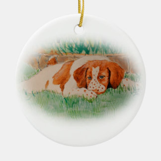 Brittany puppy ceramic ornament