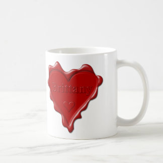 Brittany. Red heart wax seal with name Brittany. Coffee Mug