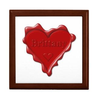 Brittany. Red heart wax seal with name Brittany. Gift Box