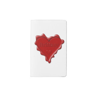 Brittany. Red heart wax seal with name Brittany. Pocket Moleskine Notebook