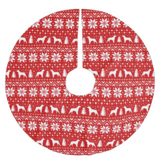 Brittany Silhouettes Christmas Pattern Red Brushed Polyester Tree Skirt