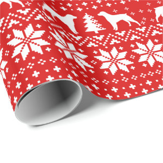 Brittany Silhouettes Christmas Sweater Pattern Red Wrapping Paper