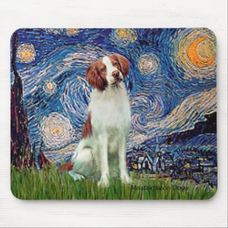 Brittany Spaniel 3 - Starry Night Mouse Pad