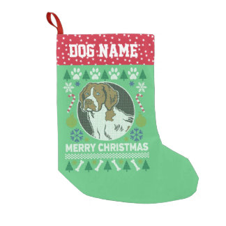 Brittany Spaniel Dog Breed Ugly Christmas Sweater Small Christmas Stocking