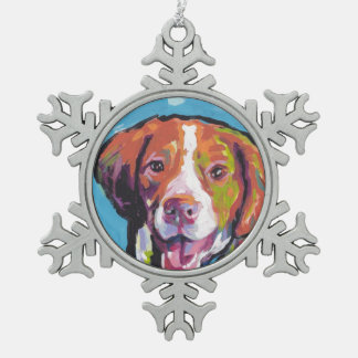 Brittany spaniel Dog fun bright pop art Snowflake Pewter Christmas Ornament