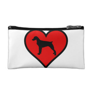 Brittany Spaniel Heart Love Dogs Silhouette Cosmetic Bag