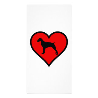 Brittany Spaniel Heart Love Dogs Silhouette Personalized Photo Card