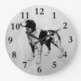 brittany spaniel large clock