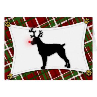 Brittany Spaniel Reindeer Christmas Card