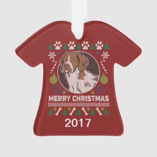 Brittany Spaniel Ugly Christmas Sweater Ornament