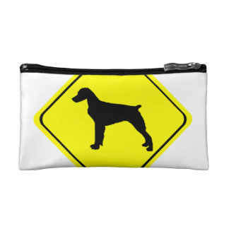 Brittany Spaniel Warning Sign Love Dogs Silhouette Cosmetic Bag