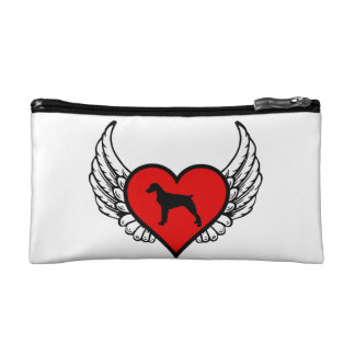 Brittany Spaniel Winged Heart Love Dogs Silhouette Makeup Bags