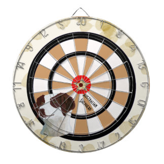 Brittany ~ Tan Leaves Motiff Dartboard With Darts