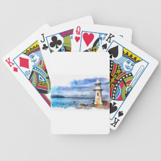Brixham Lighthouse Watercolour Bicycle Playing Cards