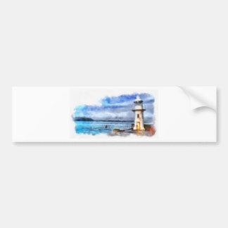 Brixham Lighthouse Watercolour Bumper Sticker