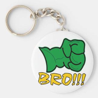 Bro Big Green Fist Basic Round Button Keychain