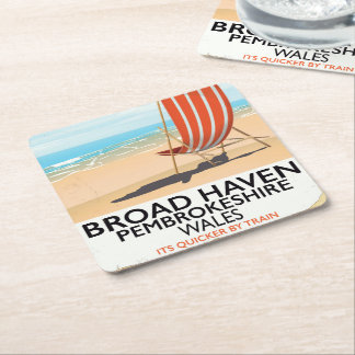 Broad Haven, Pembrokeshire,Wales seaside Square Paper Coaster