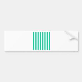 Broad Stripes - White and Caribbean Green Car Bumper Sticker