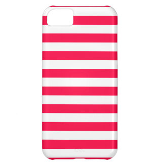 Broad Stripes - White and Electric Crimson iPhone 5C Case