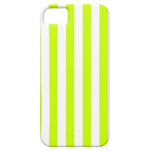 Broad Stripes - White and Fluorescent Yellow iPhone 5 Case