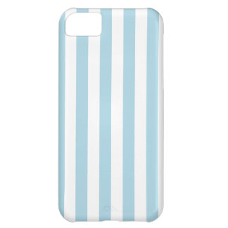Broad Stripes - White and Light Blue iPhone 5C Cases